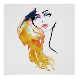 Watercolor woman portrait make up artist branding poster
