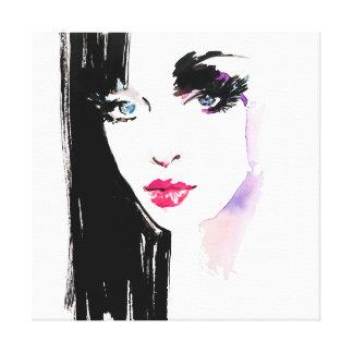 Watercolor woman portrait makeup artist branding canvas print