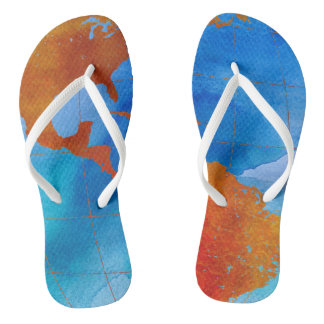 Watercolor World Flip Flops