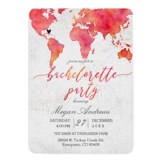 Watercolor World Map Bachelorette Party Invitation
