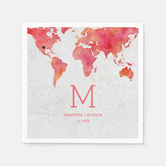 Watercolor World Map Destination Wedding Monogram Paper Napkins