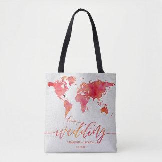 Watercolor World Map Destination Wedding Monogram Tote Bag