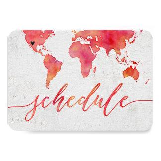 Watercolor World Map Destination Wedding Schedule Card