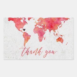 Watercolor World Map Destination Wedding Thank You Sticker