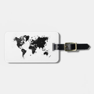 Watercolor world map luggage tag