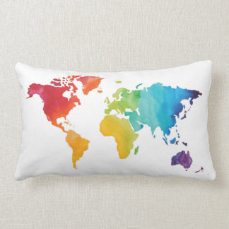 Watercolor World Map Pillow