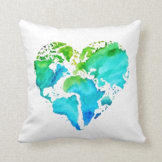 Watercolor World Map Pillow - Heart Shaped Map