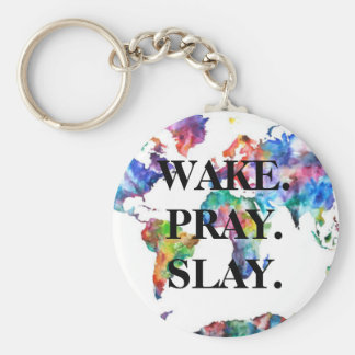 Watercolor World Map - Wake. Pray. Slay. Basic Round Button Keychain