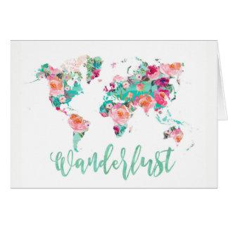 Watercolor world map Wanderlust Card
