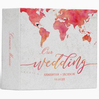Watercolor World Map Wedding Photo Album Vinyl Binder