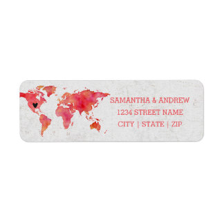 Watercolor World Map Wedding Return Address Return Address Label