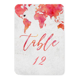 Watercolor World Map Wedding Table Number
