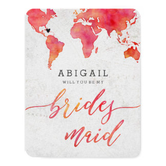 Watercolor World Map Will You Be Bridesmaid Card