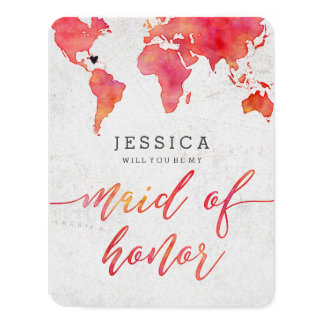 Watercolor World Map Will You Be My Maid of Honor Card