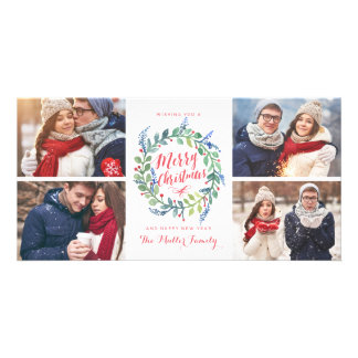 Watercolor Wreath Collection 4 Photo Holiday Personalized Photo Card