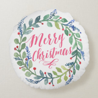 Watercolor Wreath Collection Round Pillow