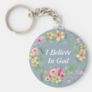 Watercolor Wreath/ Faith Keychain