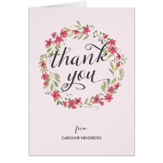 Watercolor Wreath | Floral Thank You Card
