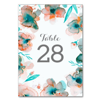 Watercolor Wreath Floral Wedding Table Numbers