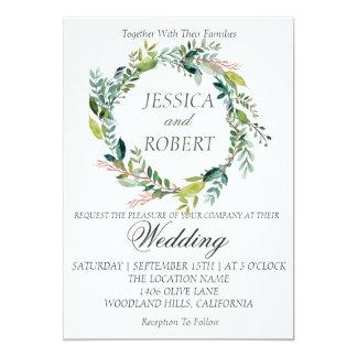Watercolor Wreath Garden Wedding Invitation