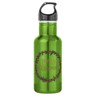 Watercolor wreath - merry christmas - branches 532 ml water bottle