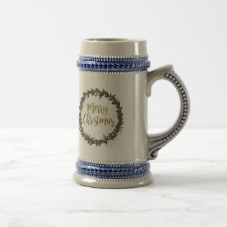 Watercolor wreath - merry christmas - branches beer stein