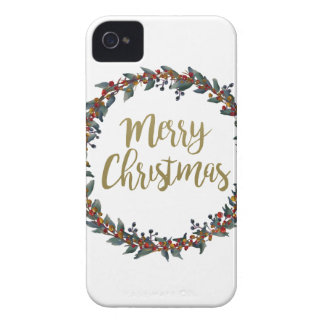 Watercolor wreath - merry christmas - branches Case-Mate iPhone 4 case