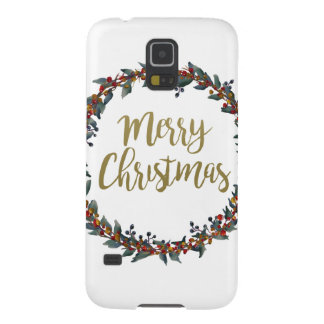 Watercolor wreath - merry christmas - branches cases for galaxy s5