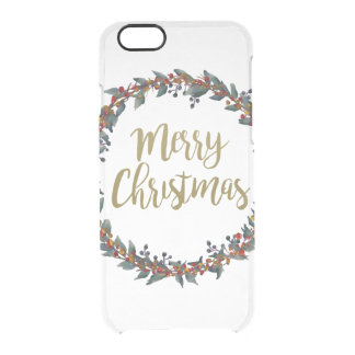 Watercolor wreath - merry christmas - branches clear iPhone 6/6S case
