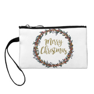 Watercolor wreath - merry christmas - branches coin purse