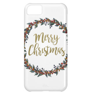 Watercolor wreath - merry christmas - branches cover for iPhone 5C