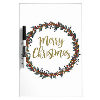 Watercolor wreath - merry christmas - branches dry erase board