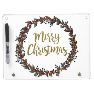 Watercolor wreath - merry christmas - branches dry erase board with keychain holder