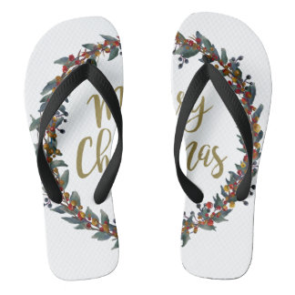 Watercolor wreath - merry christmas - branches flip flops