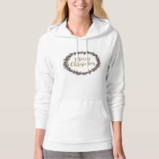 Watercolor wreath - merry christmas - branches hoodie