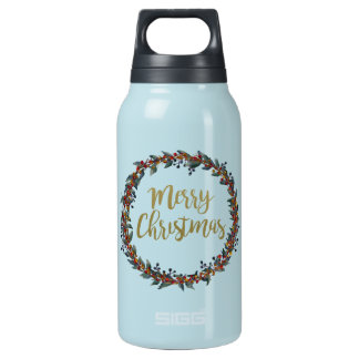 Watercolor wreath - merry christmas - branches insulated water bottle