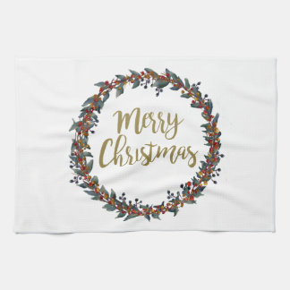 Watercolor wreath - merry christmas - branches kitchen towel