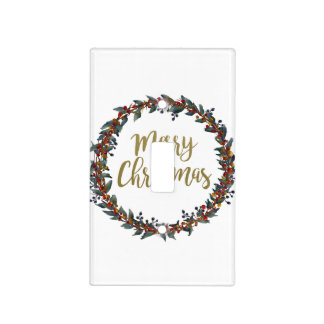 Watercolor wreath - merry christmas - branches light switch cover
