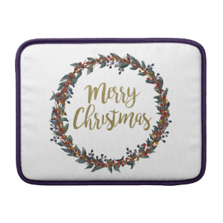 Watercolor wreath - merry christmas - branches MacBook sleeve
