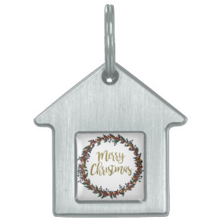 Watercolor wreath - merry christmas - branches pet ID tag