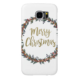 Watercolor wreath - merry christmas - branches samsung galaxy s6 cases