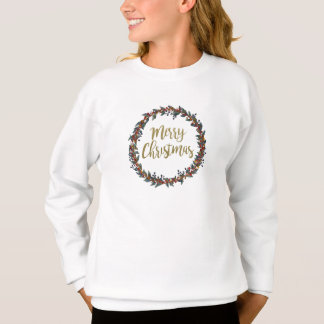 Watercolor wreath - merry christmas - branches sweatshirt