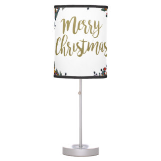 Watercolor wreath - merry christmas - branches table lamp