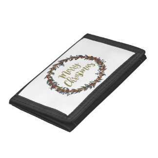 Watercolor wreath - merry christmas - branches tri-fold wallet