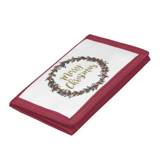 Watercolor wreath - merry christmas - branches tri-fold wallets