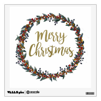 Watercolor wreath - merry christmas - branches wall sticker