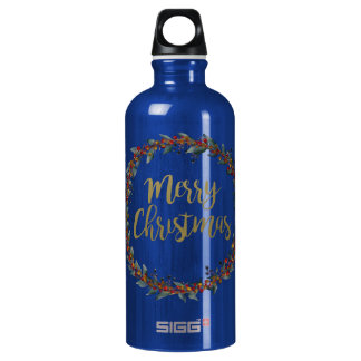 Watercolor wreath - merry christmas - branches water bottle
