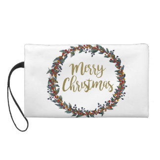 Watercolor wreath - merry christmas - branches wristlet