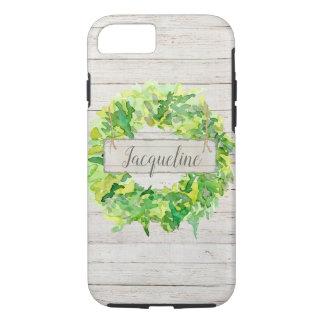 Watercolor Wreath Rustic Farmhouse Shiplap Wood Case-Mate iPhone Case