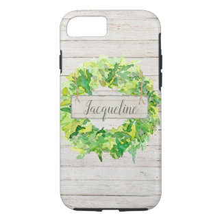 Watercolor Wreath Rustic Farmhouse Shiplap Wood iPhone 8/7 Case